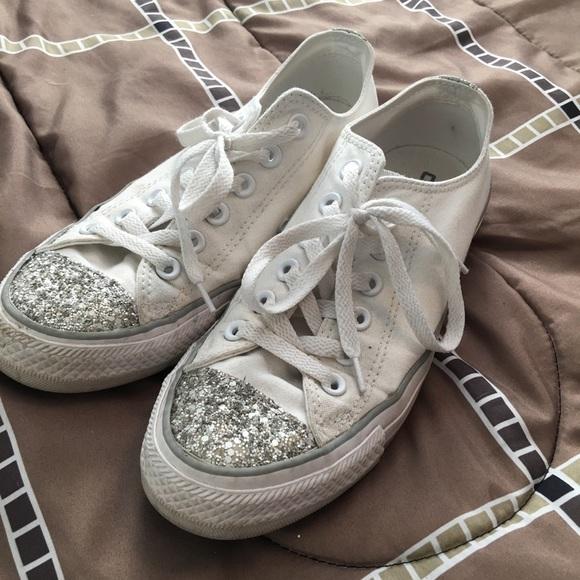 b5c29d8ef8e9 Converse Shoes - White glitter toe converse